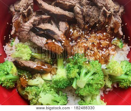 Teriyaki sauce beef rice and broccoli meal