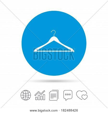 Hanger sign icon. Cloakroom symbol. Copy files, chat speech bubble and chart web icons. Vector