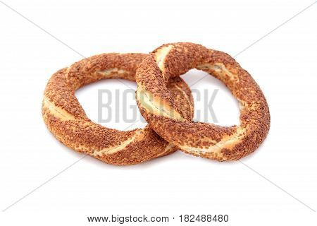 Turkish traditional sesame bagels. - Simit - on white background