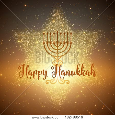 Vector Hanukkah background with menorah and david star. Shining stars and sun on the back. Happy Hanukkah background. Elegant greeting card.