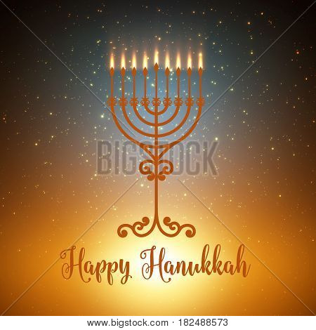 Vector Hanukkah background with menorah. Shining stars and sun on the back. Happy Hanukkah background. Elegant greeting card.