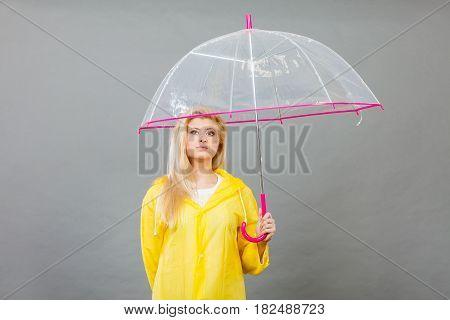 Sad Bored Woman Wearing Raincoat Holding Umbrella