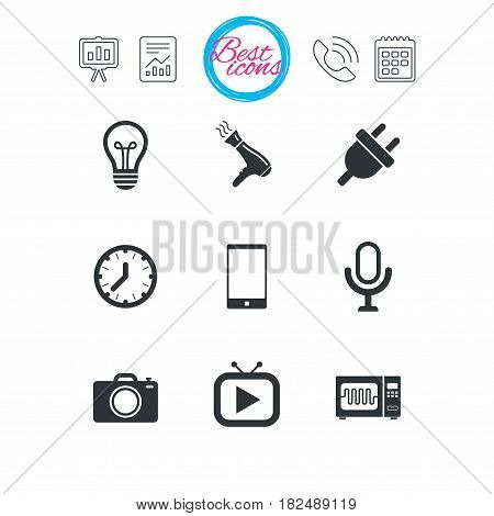 Presentation, report and calendar signs. Home appliances, device icons. Electronics signs. Lamp, electrical plug and photo camera symbols. Classic simple flat web icons. Vector