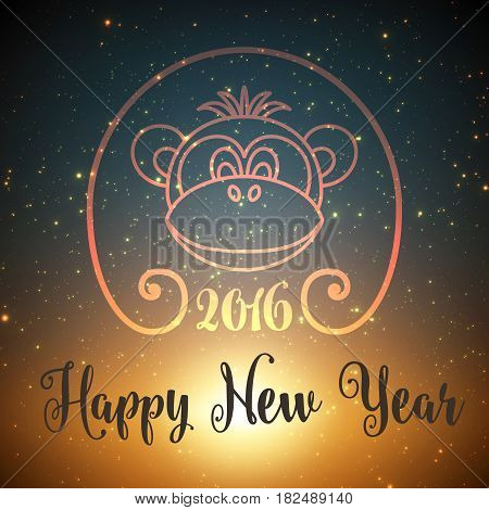 Shining stars on dark blue background with backlight and glowing particles and monkey face. Happy New Year background. Elegant shining background for you design. EPS 10