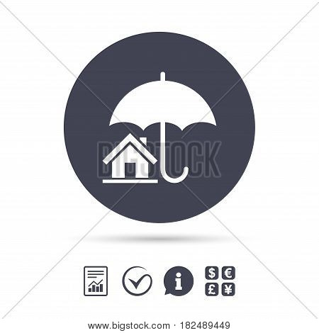 Home insurance sign icon. Real estate insurance symbol. Report document, information and check tick icons. Currency exchange. Vector