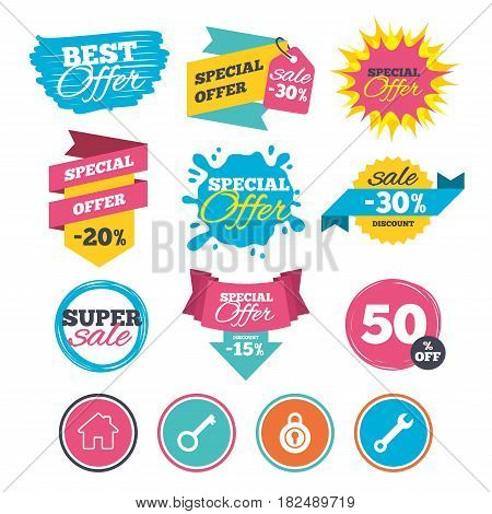 Sale banners, online web shopping. Home key icon. Wrench service tool symbol. Locker sign. Main page web navigation. Website badges. Best offer. Vector