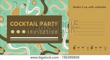 Cocktail party horizontal invitation card template with cocktails, citrus, waves. Green and gold colors. Place for text.