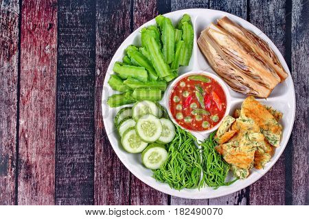 Thai popular food Spicy shrimp paste dip
