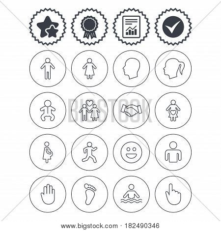 Report, check tick and award signs. Human icons. Male and female symbols. Infant toddler and pregnant woman. Happy smile face. Success deal handshake. Best quality star symbol. Flat buttons. Vector