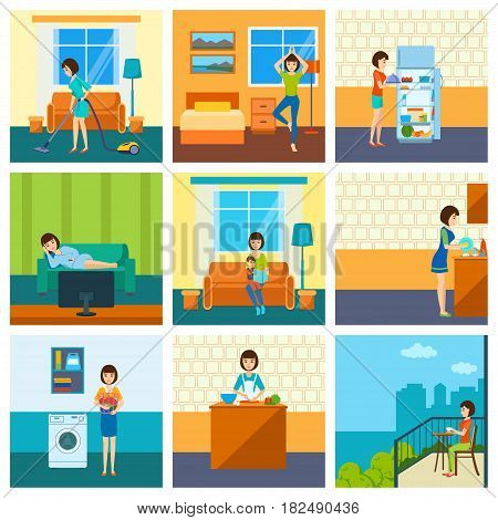 The girl in various situations: vacuuming the room, doing yoga, cooking, resting, engaged with the child, washes dishes, erase, is on the open air. Vector illustration isolated in cartoon style.