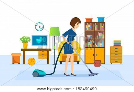 The girl is cleaning, vacuuming in the room, wiping dust, putting things in order, against the background of the interior. Vector illustration isolated in cartoon style.