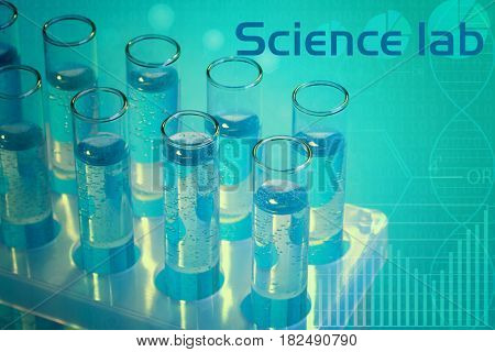 Test tubes with fluid and text SCIENCE LAB on color background