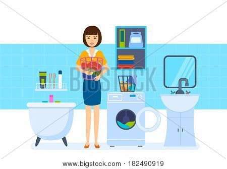 Girl at home. Young housewife in the bathroom, lays the things in the washing machine and is engaged in laundering, against background of interior room. Vector illustration isolated in cartoon style.