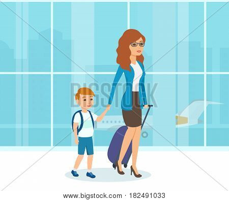 People in the airport interior and traveling concept. Mother in beautiful clothes, with luggage in her hand, walks next to her little son, planned vacation during the holidays.