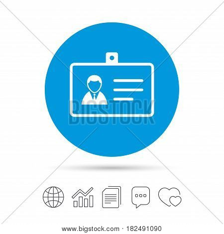 ID card sign icon. Identity card badge symbol. Copy files, chat speech bubble and chart web icons. Vector