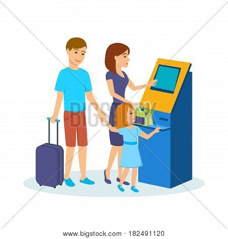 People traveling concept. A young family of three, with luggage, near the payment terminal in the airport waiting room. Vector illustration isolated in cartoon style.