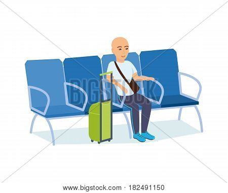 People traveling concept. A man with luggage in his hands is in the armchair of the airport waiting room, having planned a flight in an airplane. Vector illustration isolated in cartoon style.