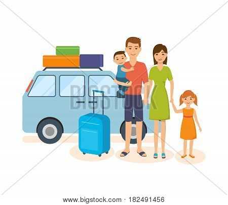 People traveling concept. The young family travels together in their own car, with personal belongings, spending holidays and vacations. Vector illustration isolated in cartoon style.