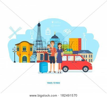 People traveling concept. The young family travel to Paris together, spends time, traveling by car, getting to know the city, traditions, sights. Vector illustration isolated in cartoon style.