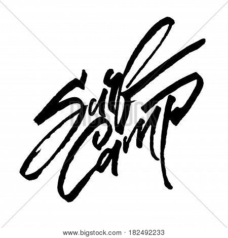 Surf Camp. Modern Calligraphy Hand Lettering for Silk Screen Print