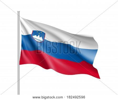 Slovenia national flag. Patriotic symbol in official country colors white, blue and red. Illustration of Sounhern European state flag. Vector icon