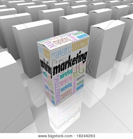 Many boxes on a store shelf, one with the word Marketing promoting its unique selling proposition
