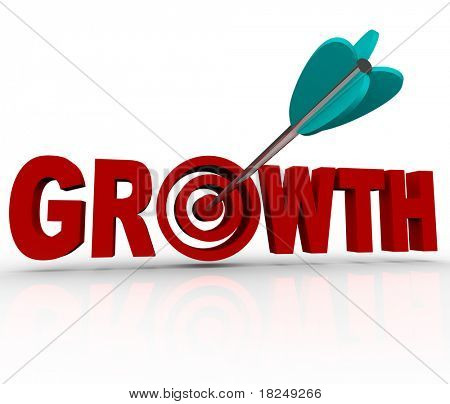 An arrow hits a target bulls-eye inside the word Growth, symbolizing the hitting of a goal for increase or improvement in business or personal life