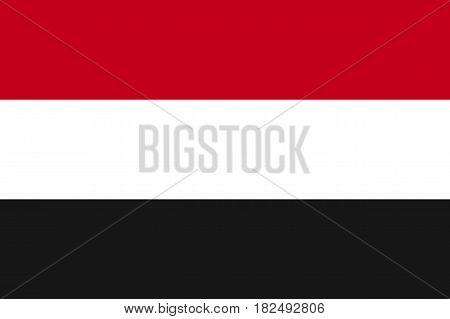Yemen national flag, horizontal tricolour of red, white, black, symbolic element, patriotic symbol of country, flat vector illustration