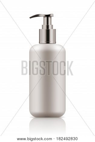 Vector realistic blank template of plastic bottle with dispenser. Mock-up of package. Empty and clean 3d white plastic container for cream, body lotion, liquid gel.