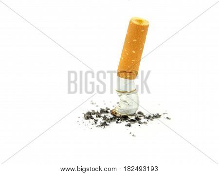 Cigarette butts. Stop smoking concept on white background.