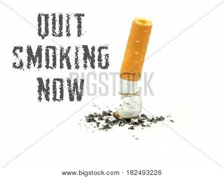 Quit smoking now ,on white background .