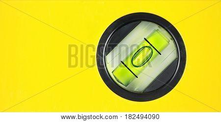 Yellow spirit level. Close up image .