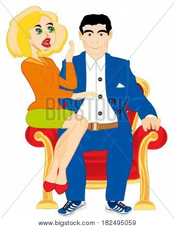 Man with beautiful girl sit on easy chair together