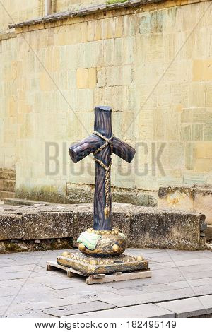 Stone Cross On Churchyard In Svetitskhoveli Cathedral At Mtskheta, Georgia
