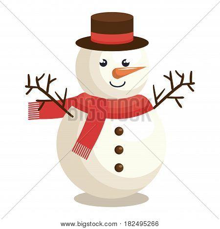 merry christmas snowman character vector illustration design