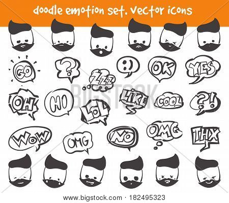 Doodle emotion face and speech clouds icons. Vector set on white background. Stock illustration