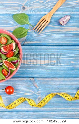 Fruit And Vegetable Salad, Fork With Tape Measure, Slimming And Nutrition Concept, Copy Space For Te