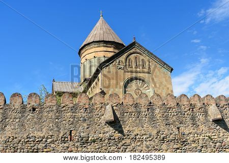 Svetitskhoveli Cathedral Is Surrounded By Defensive Wall. Mtskheta, Georgia