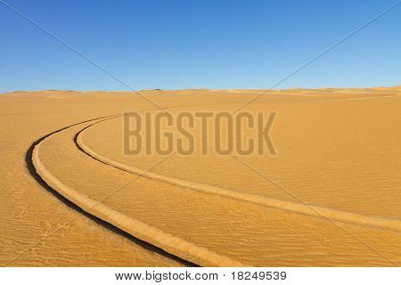 Car Tire Tracks In The Desert