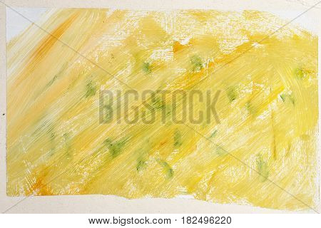 Yellow green abstract background with gouache. Design element. Children's creativity. Expressive painting with paints.