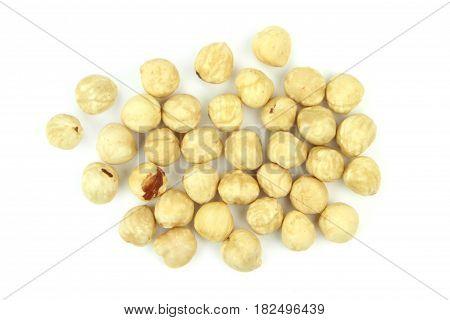 Delicious hazelnuts on white background close up image