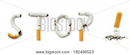 Stop smoking on white background close up image