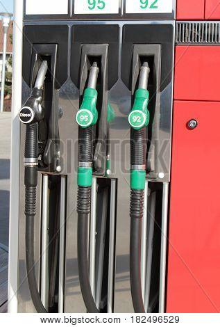 Gas station pumps close up image .