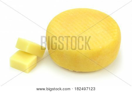 Cheeses on white background on white background