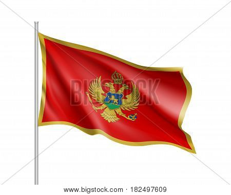 National flag of Montenegro country. Patriotic state symbol in official colors. Illustration of Sounhern European country flag. Vector icon