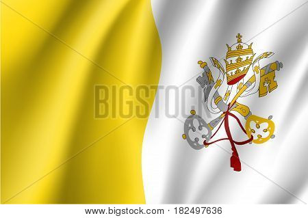 Flag of Vatican City State. Papal States - catholic country of Sounhern European. Holy See symbol. Vector icon illustration