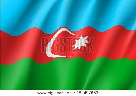 Azerbaijan national flag, fluttering in the wind, horizontal tricolour, light blue, red, green, white crescent, eight-pointed star, educational and political concept, realistic vector illustration