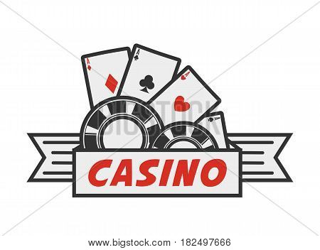 Vector illustration of the casino emblem with the chips and aces isolated on white.