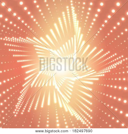 Vector infinite star twisted tunnel of shining flares on orange background. Glowing points form tunnel sectors. Abstract cyber colorful background. Elegant modern geometric wallpaper.