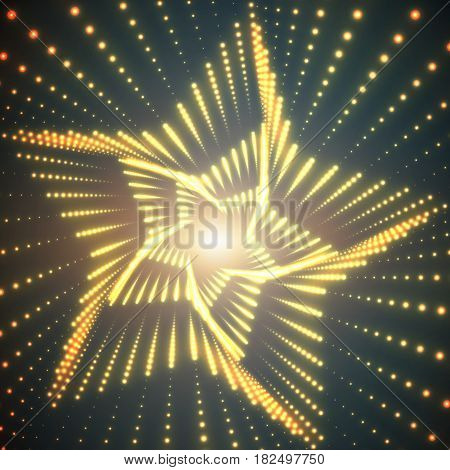 Vector infinite star twisted tunnel of shining flares on turquoise background. Glowing points form tunnel sectors. Abstract cyber colorful background. Elegant modern geometric wallpaper.